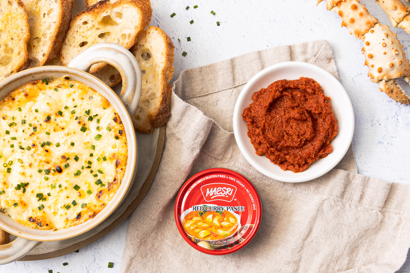 Curry Crab Dip spread with sliced bread