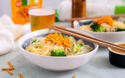 Yellow Sriracha Noodles with Broccoli